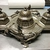 Antique French 1850's Inkwell with Matching candlestands.