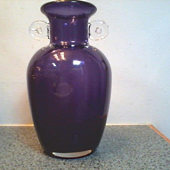 Beautiful Amethyst Panel Optic Art Glass Vase with Coiled Handles /Unknown Maker and Age - Art Glass