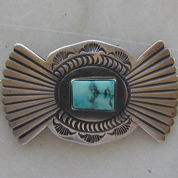 Navajo bow-tie sterling & turquoise pin - Native American