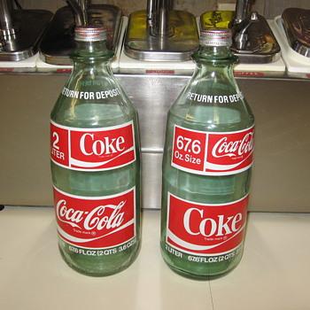 Pair of 1978 glass 2 Liter 67.6 Oz. Coca Cola Coke Bottles - Bottles