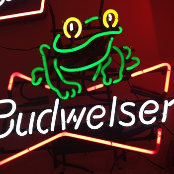 Budw Frog neon  - Breweriana