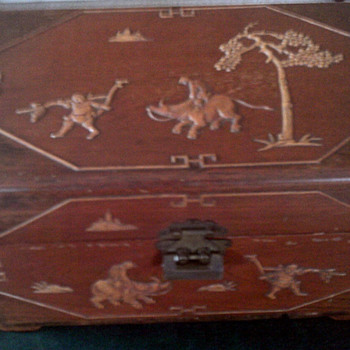 Chinese  carved  storage box or Urn