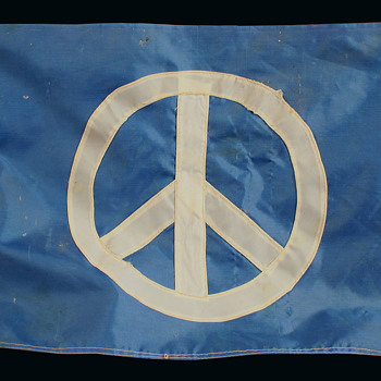 Well used Hand Made vintage Hippie Peace Protest Flag w Provenance