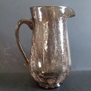 Crackle glass smoke colorerd pitcher (Pilgrim Art Glass?) - Art Glass