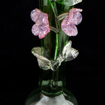 Bohemian Applied Flowers Green Opalescent Flower Vase - Art Glass