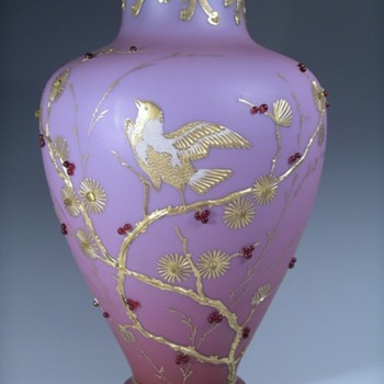 Early Loetz Alpenrot Enamelled Jewelled Vase, Ca 1893 - Art Glass