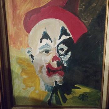 Vintage Clown Painting - Fine Art