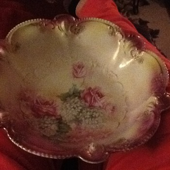 Pink roses SR Prussia bowl - China and Dinnerware