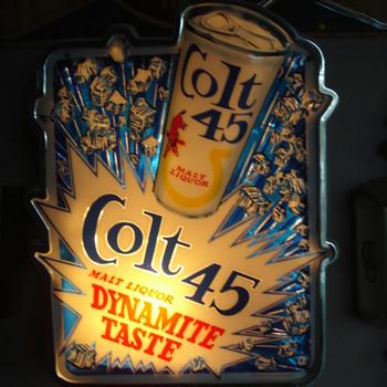 Colt 45 Malt Liquor Vintage Sign and Bar Mirror