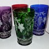 Vintage Set of Colored cut to clear tumblers