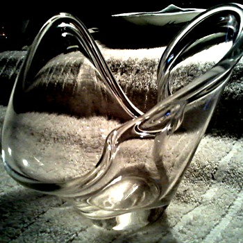 "Small Free Form ""Splash"" Clear Glass Bowl / Labeled Weston W. Virginia / Unknown Age - Art Glass"