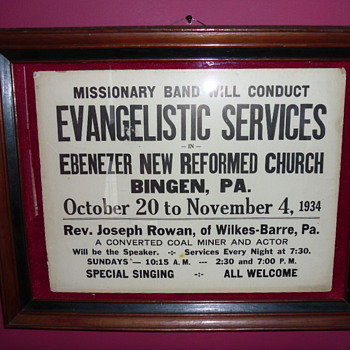 ~~~1934 Evangelistic Service Poster~~~ - Advertising