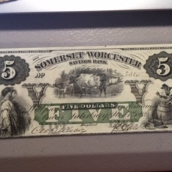 1862 Civil War Era Obsolete Large Banknote Currency  - US Paper Money