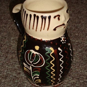 Interesting old quirky tankard with applied enamel, French?  - Pottery