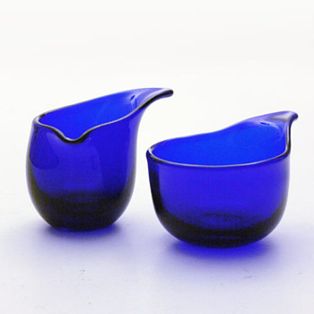 VIPSTJERT creamer and sugar-bowl set, Per Lütken (Holmegaard, 1950) - Art Glass