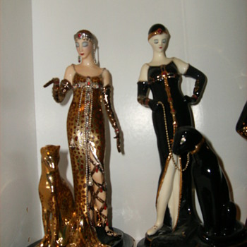 two ladies, one house of erte franklin mint ocelot and one flapper lady with panther - Pottery