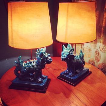 amazing oriental fu dog pottery lamps - Asian