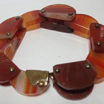 Antique Carved Agate Flexible Bracelet - Fine Jewelry