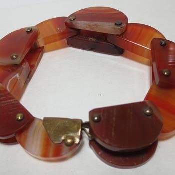 Antique Carved Agate Flexible Bracelet