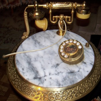 I have one !!   marble table top brass base 1950 Italian brass & marble phone table with pen holder  - Furniture
