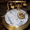 I have one !!   marble table top brass base 1950 Italian brass & marble phone table with pen holder