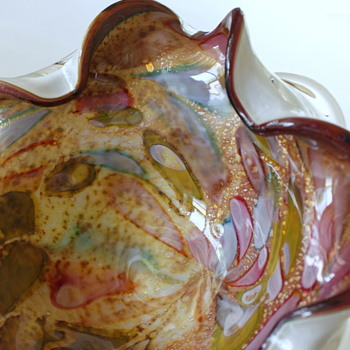 Gold Speckled Glass Dish Unknown Maker - Art Glass
