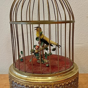 Vintage German Caged Automaton Singing Bird  - Music Memorabilia