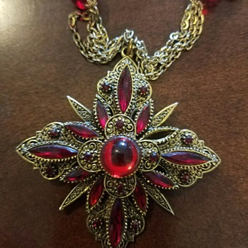 Elaborate Red and Gold Costume Necklace - Costume Jewelry