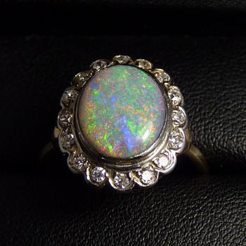 Diamond & Dark Crystal Opal Ring - pinfire colours against a dark body tone