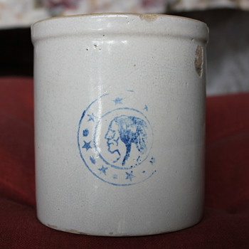 THIS IS A 1 QT CROCK, MADE OF GREY OR WHITE CLAY NOT RED, THE INDIAN HEAD IS OF WHAT CULTURE I DO NOT KNOW. IT WAS MY GREAT GRA - Pottery