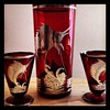 1920-1930 Ruby glass cocktail shaker with sailfish motif