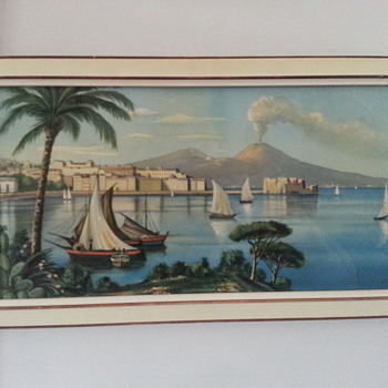 BEAUTIFUL ITALIAN PRINT OF MT VESUVIUS