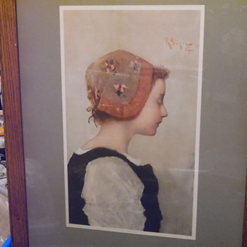 "Antique Lithograph/Print ""The Peasant Girl"",Morris & Bendien"