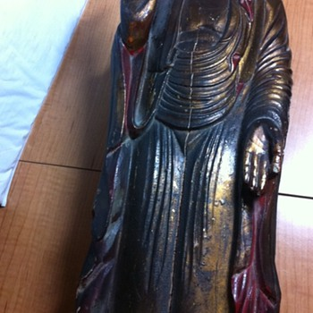 wooden vintage statue - Asian