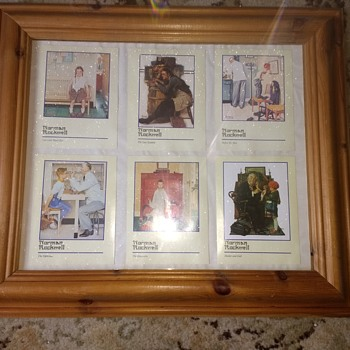 Norman Rockwell six prints in a wood frame, A, Girl with black eye. B begins the Rockwell experience. - Fine Art