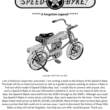 Writing the Speed-O-Byke history. - Motorcycles