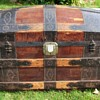 Early 1870's High End Fancy Nail Leather Barrel Stave Trunk