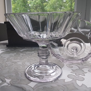Beautiful Lavender Pressed Glass Covered Compote - Glassware