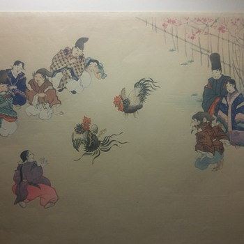 Asian woodblock print / watercolor