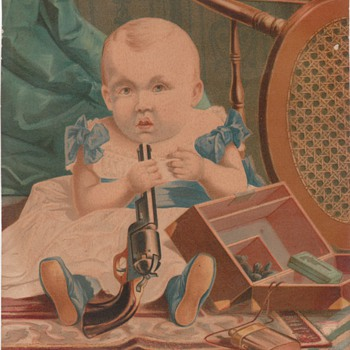 Baby with gun mystery illustration