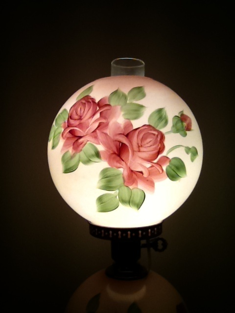 Antique Hand Painted Rose Parlor Lamp Collectors Weekly