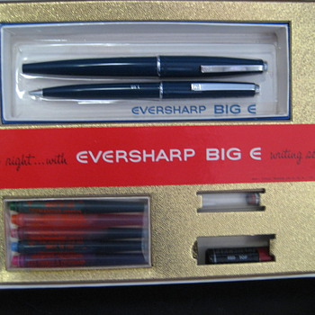 Eversharp Big E Writing set. Has six color ink cartages. Not sure how old it is. Never been used. Still in the box. - Pens