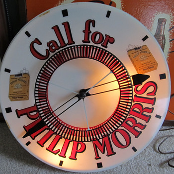 CALL FOR PHILLIP MORRIS CLOCK WITH SPINNER - Tobacciana