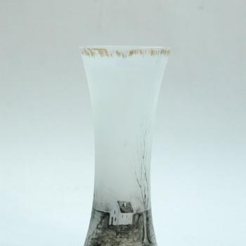 """rare DAUM FRERES miniature scenic vase of """"grisailles"""" series circa 1893 - Art Nouveau"""