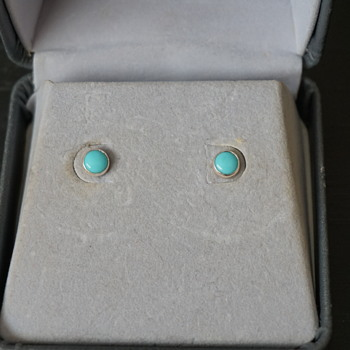 Turquoise & Silver Stud Earrings - Fine Jewelry