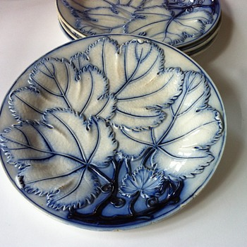 Majolica indigo blue grape leaf pattern