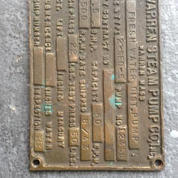 Navy steam pump plaque info please