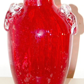 Red Glass Handle Vase Possibly Murano? - Art Glass