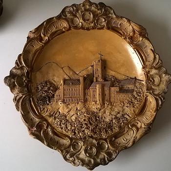Antique (?) Josef-Strnact Austria Majolica Ceramic Wall Plaque Wartburg Castle, Germany - Pottery