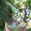 Beautiful Iridescent Czech Glass Jug with Hand Painted Cherries